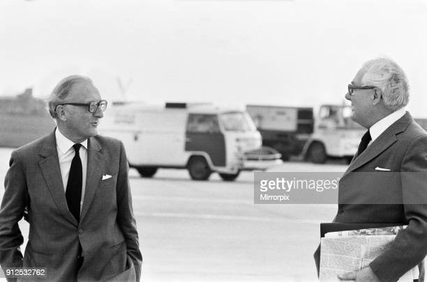 Foreign Secretary Lord Carrington with former Prime Minister James Callaghan at Heathrow Airport as they depart for Cairo to attend the funeral...