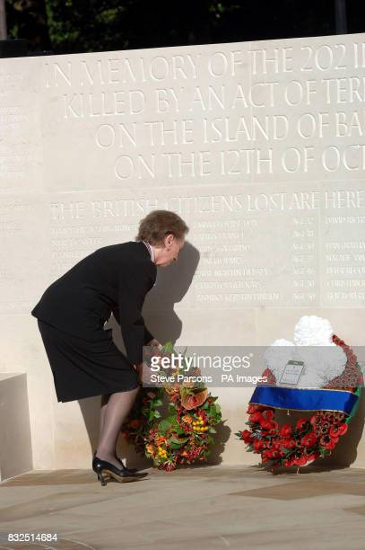 Foreign Secretary Margaret Beckett lays a wreath at the foot of a memorial to those who died in the Bali bombings four years ago on Clive Steps at...