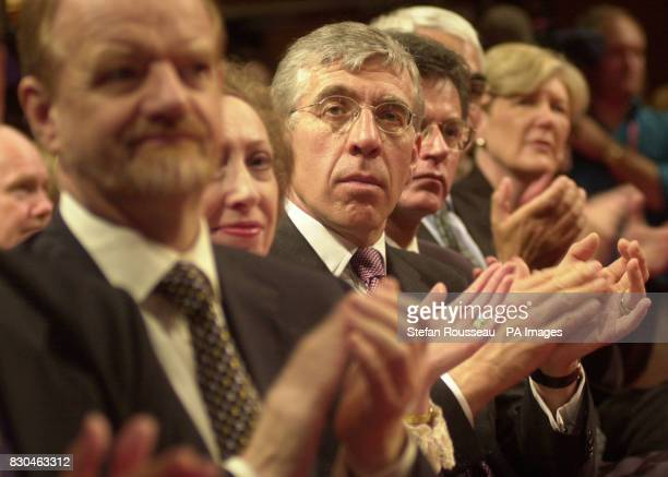 Foreign Secretary Robin Cook Leader of the House of Commons Margaret Beckett and Home Secretary Jack Straw are among the Cabinet members applauding...