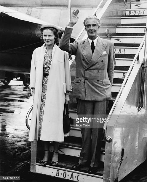 Foreign Secretary Sir Anthony Eden and his wife waving as they leave their plane at London Airport July 26th 1953