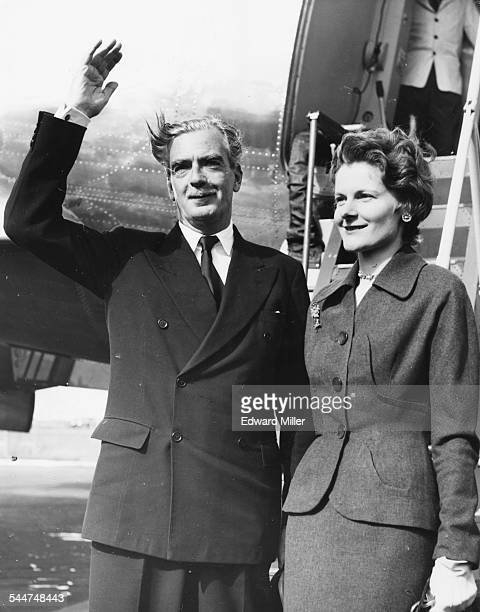 Foreign Secretary Sir Anthony Eden and Lady Eden traveling to Brussels to discuss the Crisis in Western Defense pictured at London Airport September...