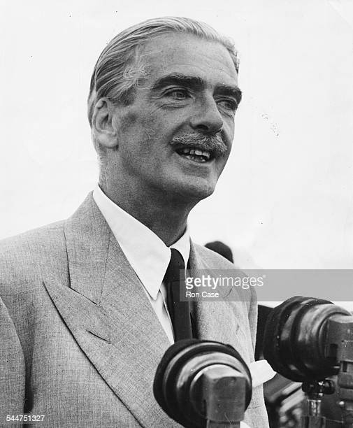 Foreign Secretary Sir Anthony Eden delivering a speech at London Airport after arriving back in the country following an operation England July 26th...