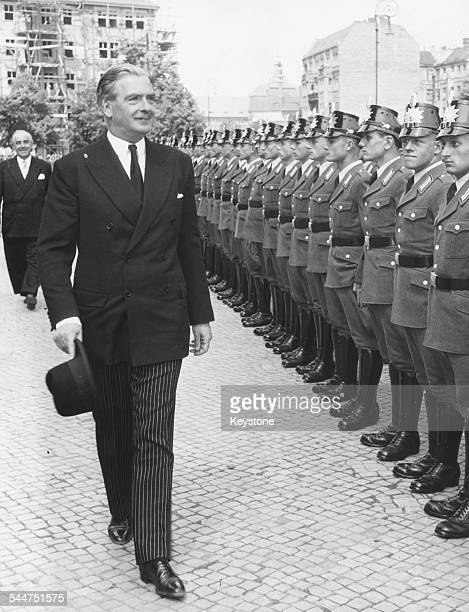 Foreign Secretary Sir Anthony Eden inspecting a Guard of Honor as he arrives for a meeting with Mayor Ernst Reuter in Berlin May 29th 1952