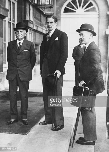 Foreign Secretary Sir Anthony Eden with Ambassador Lord Tyrrell and Ambassador Alexander Cadogan outside the Ministry of Foreign Affairs in Paris...