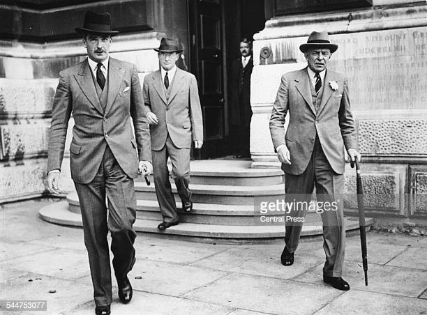 Foreign Secretary Sir Anthony Eden with diplomat Sir Robert Vansittart at the Foreign Office London 1937
