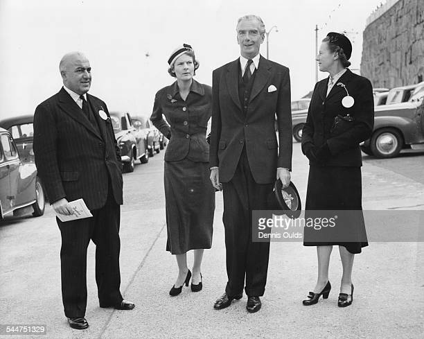 Foreign Secretary Sir Anthony Eden with Sir David Maxwell Fyfe and their wives arriving for the opening session of the Conservative Party Conference...
