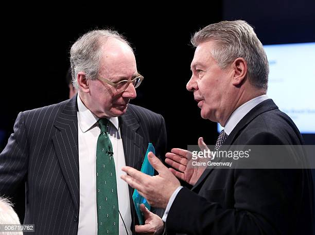 Foreign Secretary, Sir Malcolm Rifkind, KCMG, QC and former European Commissioner for Trade, Karel de Gucht, speak at the 'EU Wargames' event at The...