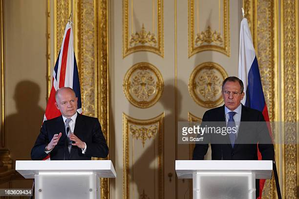 Foreign Secretary William Hague and the Foreign Minister of the Russian Federation Sergey Lavrov conduct a press conference at the Foreign and...