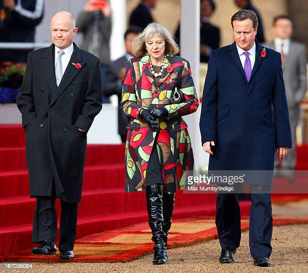 Foreign Secretary William Hague Home Secretary Theresa May and Prime Minister David Cameron attend the Ceremonial Welcome for The President of the...