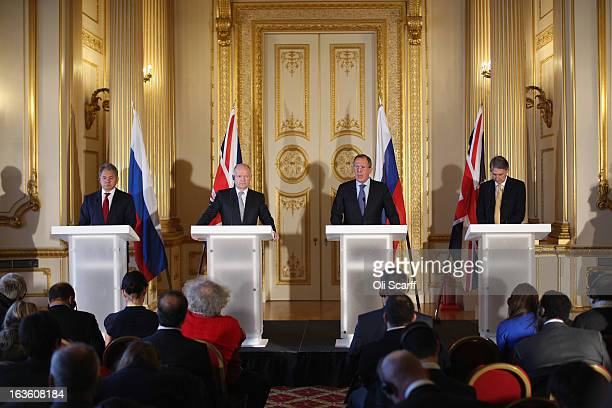Foreign Secretary William Hague the Secretary of State for Defence Philip Hammond the Foreign Minister of the Russian Federation Sergey Lavrov and...