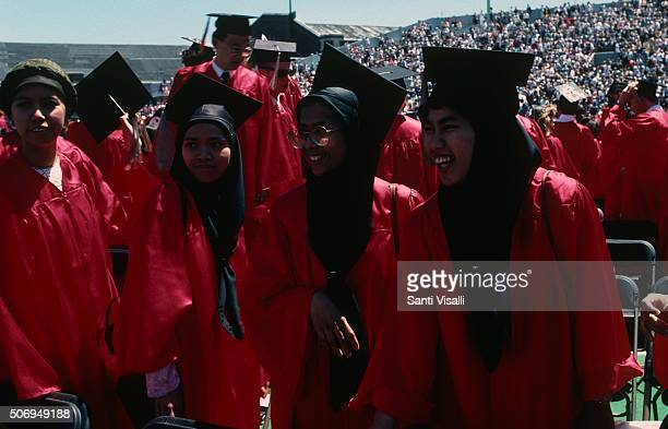 Foreign students at commencement at Boston University on May 15 1988 in Boston Massachussetts