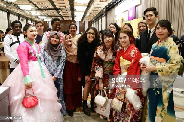Foreign students pose for a photo during their comingofage ceremony in Tokyo on Jan 14 2019 ==Kyodo