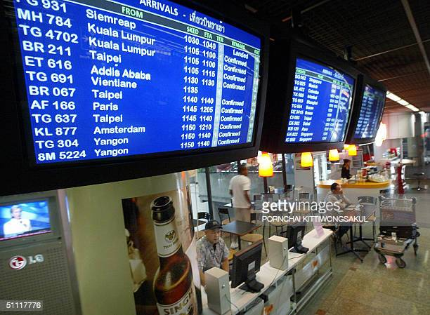 Foreign tourists gain access to 'the web' at an Internet cafe at Bangkok's international airport 27 July 2004 With pet hotels oxygen bars wireless...