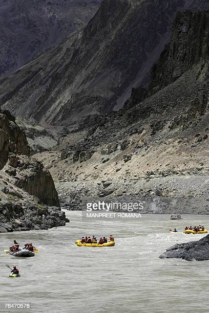 Foreign tourists take part in white water rafting in the River Zanskar at Chilling some 65 kms west of Leh 23 July 2007 Zanskar is a subdistrict or...