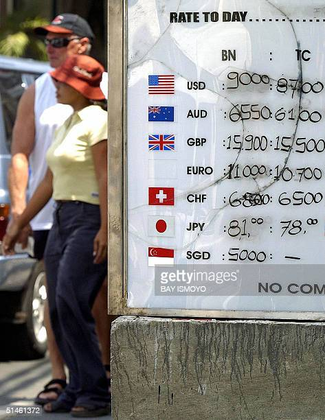 Foreign tourists walk past an exchange rates sign in Kuta Bali 11 October 2004 Indonesia on Tuesday marks two years since the bombings that killed...