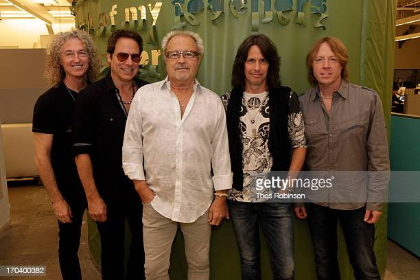 Foreigner band members Bruce Watson Tom Gimbel Mick Jones Kelly Hansen and Jeff Pilson attend Private Foreigner Performance On The Eve Of Mick Jones'...