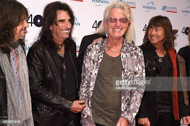 Foreigner Lead singer Kelly Hansen Alice Cooper and REO Speedwagon members Kevin Cronin and Bryan Hitt attend the TJ Martell 40th Anniversary NY Gala...