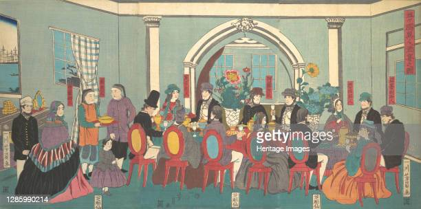 Foreigners from the Five Nations Enjoying a Banquet, 3rd month, 1861. Artist Yoshikazu.