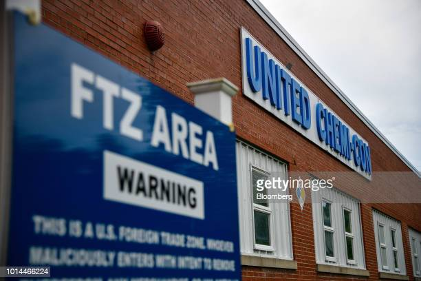 Foreigntrade zone signage stands on display outside the United ChemiCon Inc aluminum electrolytic capacitors production facility in Lansing North...
