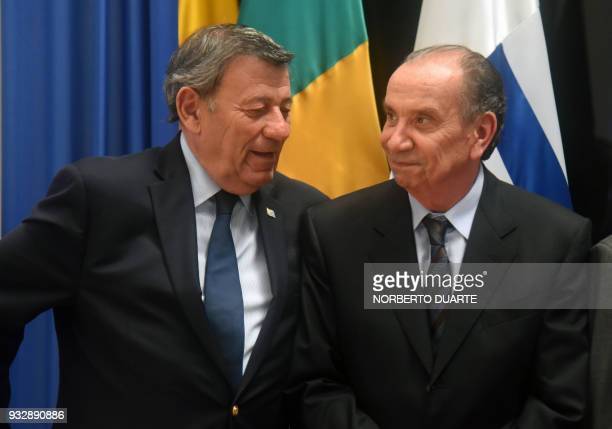 Foreing ministers of Uruguay Rodolfo Nin Novoa and Brazil Alyosio Nunes share a light moment at the end of Mercosur's foreign ministers meeting at...