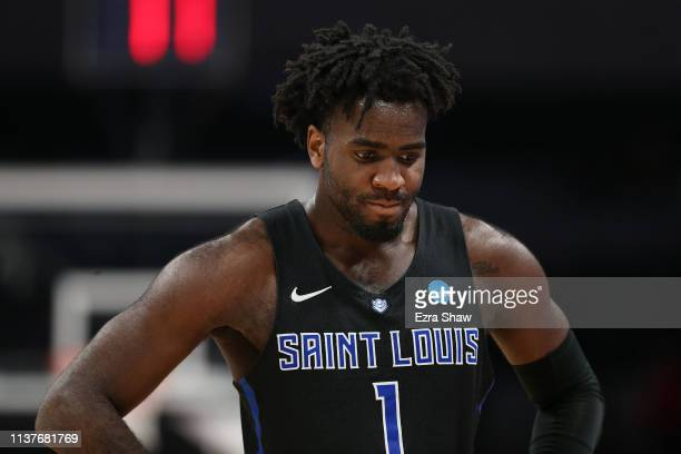 J Foreman of the Saint Louis Billikens reacts in the final moments of their 6652 loss to Virginia Tech Hokies during their game in the First Round of...