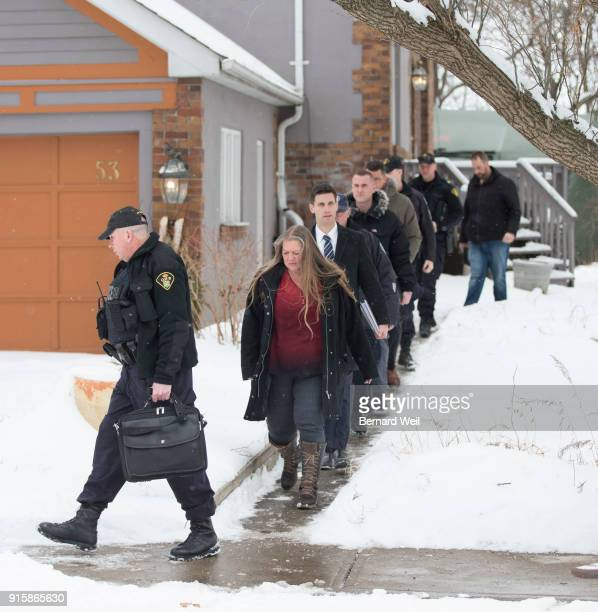 TORONTO ON FEBRUARY 8 Forensic anthropologist Kathy Gruspier leaves the home at 53 Mallory Cresc where investigators removed evidence from inside the...