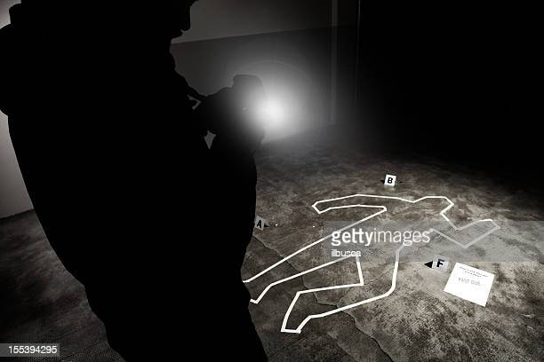 forensic crime scene, photographer in action - dead body stock pictures, royalty-free photos & images