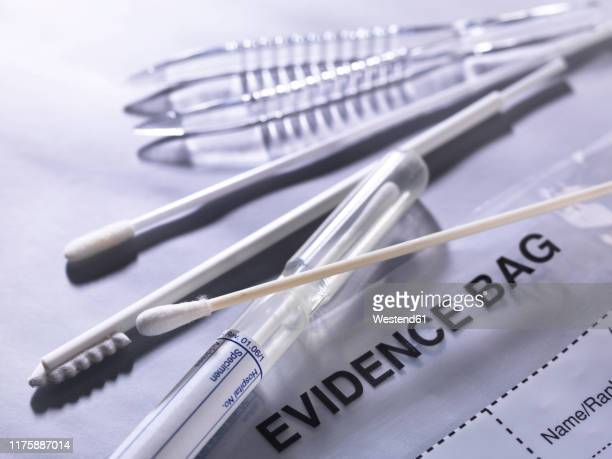 forensic evidence tools for collecting samples - evidence bag stock pictures, royalty-free photos & images