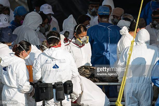 Forensic experts work in the graves where 116 bodies were found buried in Tetelcingo Mexico on May 25 2016
