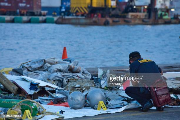 A forensic investigator looks through the remains of Lion Air flight JT 610 at the Tanjung Priok port on October 29 2018 in Jakarta Indonesia Lion...