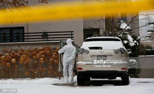Forensic investigators continued their activities at 50 Old Colony Road following the suspicious deaths of Barry Sherman and his wife Honey Flowers...