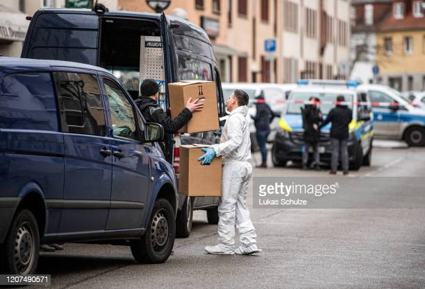 Forensic officer at the scene outside the Midnight hookah bar, one of the sites of last night's shootings, on February 20, 2020 in Hanau, Germany. A...