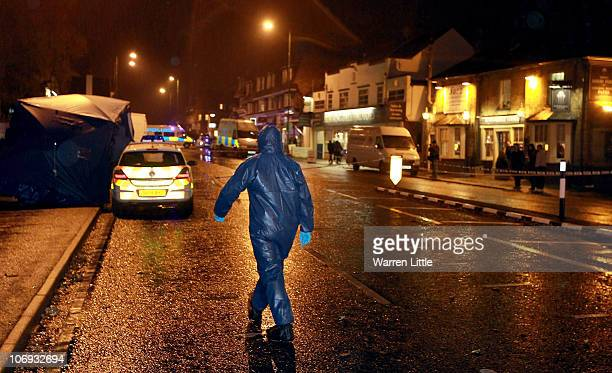 Forensic officers attends the scene of an earlier incident November 17 2010 in Sunningdale England A man has died after being found with serious...