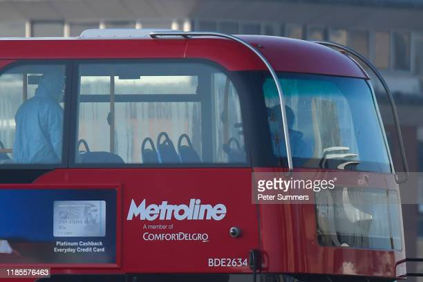 Forensic officers work on a bus as they investigate the scene of yesterday's London Bridge stabbing attack on November 30 2019 in London England A...