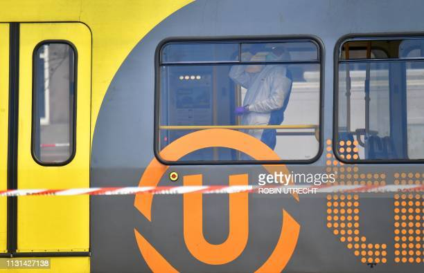 Forensic search in the tram at 24 Oktoberplein in Utrecht on March 18 2019 after a shooting that killed at least 3 people and injured nine A gunman...