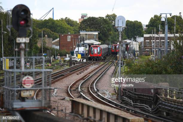 A forensic tent is seen next to the stopped tube train at Parsons Green Underground Station on September 15 2017 in London England Several people...