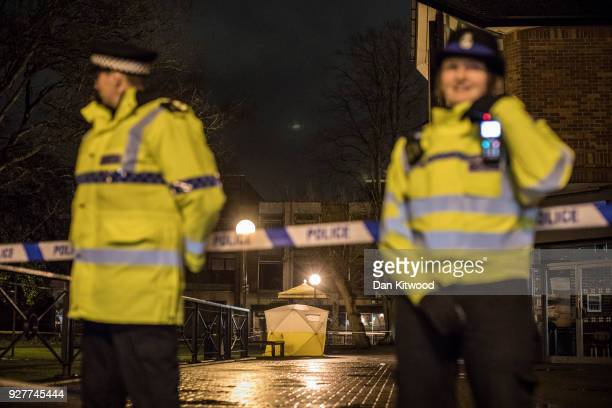 A forensic tent stands over a bench where a man and woman had been found unconscious the previous day on March 5 2018 in Salisbury England The man is...