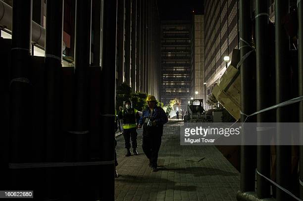 Forensic workers and authorities investigate the administrative building of PEMEX on February 03 2013 in Mexico City Mexico Authorities investigate a...