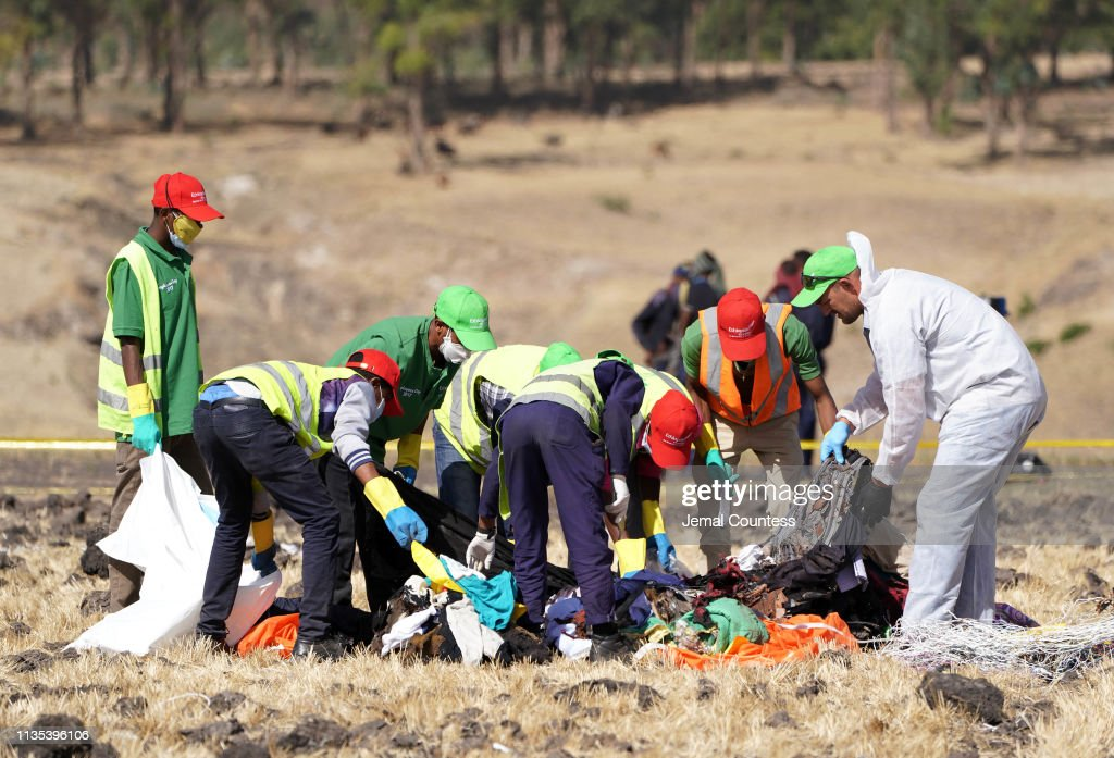 Emergency Services Work At The Crash Site Near Bishoftu Of Ethiopian Airlines ET302 To Nairobi : ニュース写真