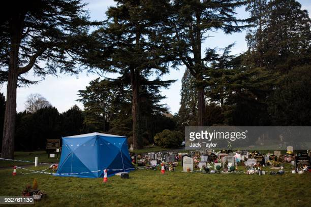 A forensics tent sits over the grave of former Russian double agent Sergei Skripal's son Alexander in London Road cemetery on March 16 2018 in...