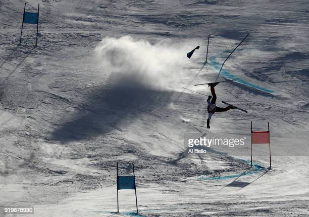 A forerunner crashes prior to the Alpine Skiing Men's Giant Slalom on day nine of the PyeongChang 2018 Winter Olympic Games at Yongpyong Alpine...