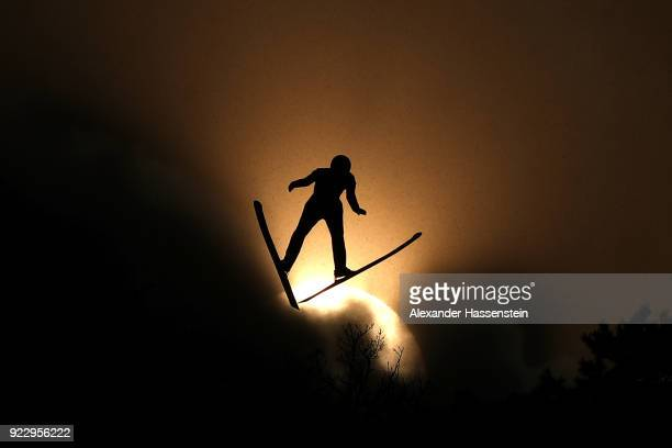 A forerunner in action prior to the Nordic Combined Team Gundersen LH/4x5km Ski Jumping Competition Round on day thirteen of the PyeongChang 2018...