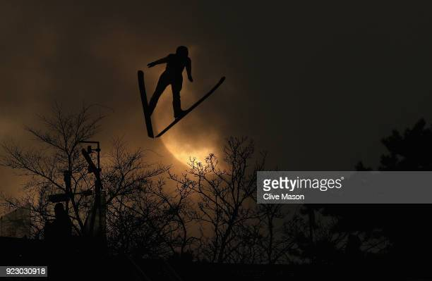 A forerunner in actionprior to the Nordic Combined Team Gundersen LH/4x5km Ski Jumping Competition Round at Alpensia CrossCountry Centre on February...