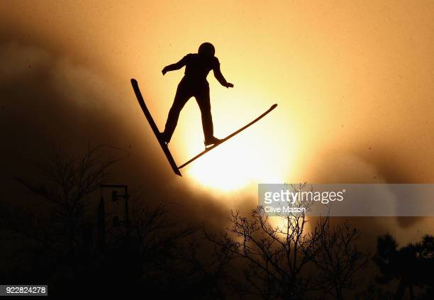 A forerunner jumps during the Nordic Combined Team Gundersen LH/4x5km Ski Jumping Competition Round on day thirteen of the PyeongChang 2018 Winter...