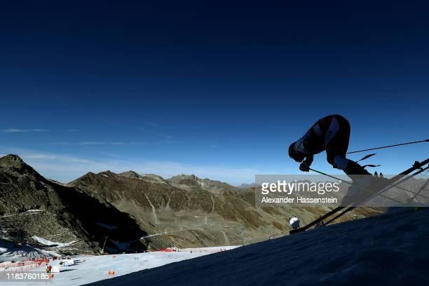 Forerunner Luca Gstrein of Austria starts for the Audi FIS Alpine Ski World Cup Men's Giant Slalom at Rettenbachferner on October 27, 2019 in...