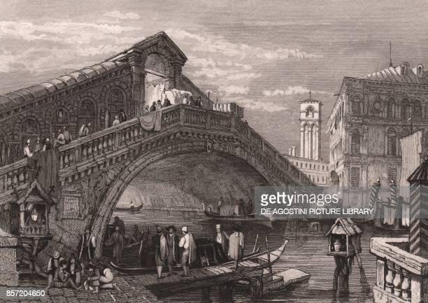 Foreshortening of the Rialto Bridge with the bell tower of the Church of San Giovanni Elemosinario and the Camerlenghi Palace in the background...