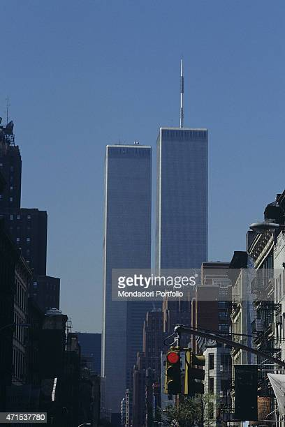 'A foreshortening view of Manhattan financial district In the background the twin towers at World Trade Center destroyed by the terrorist attack in...