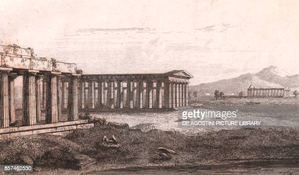Foreshortening view of the Hera temples in Paestum Capaccio Paestum Campania Italy steel engraving 106x173 cm from L'Italia la Sicilia le isole Eolie...