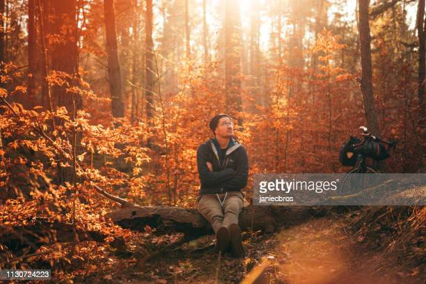 forest by bicycle meditation - good; times bad times stock pictures, royalty-free photos & images