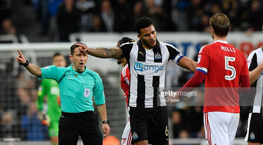 Forest captain Matt Mills is sent off during the Sky Bet Championship match between Newcastle United and Nottingham Forest at St James' Park on December 30, 2016 in Newcastle upon Tyne, England.